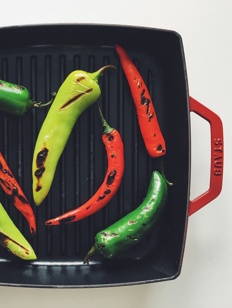 Charred hot peppers